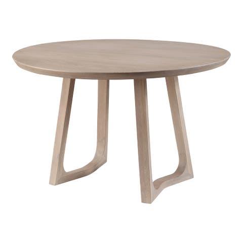 Aurelle Home Seleana Modern Solid White Oak Round Dining Table
