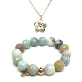 "Julieta Jewelry Set 12mm Green Amazonite Lauren 7"" Stretch Bracelet & 12mm Flower Charm 16"" 14k Over .925 SS Necklace"