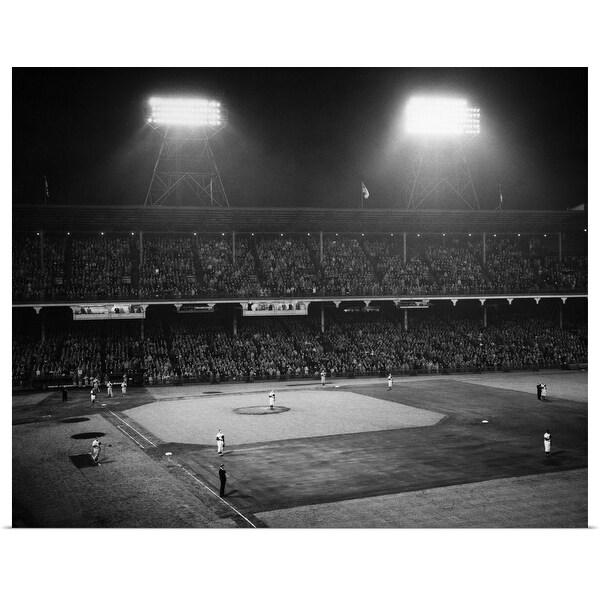 """1940's 1947 Baseball Night Game Under The Lights, Ebbets Field Brooklyn"" Poster Print"