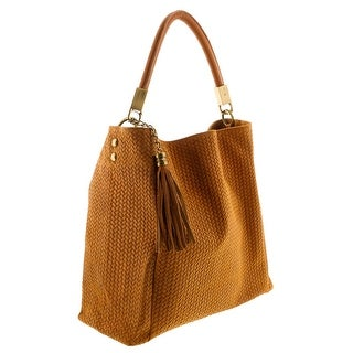 HS2070 CU GRAZIA Tan Leather Hobo Shoulder  Bag - 14.5-13.5-5.75