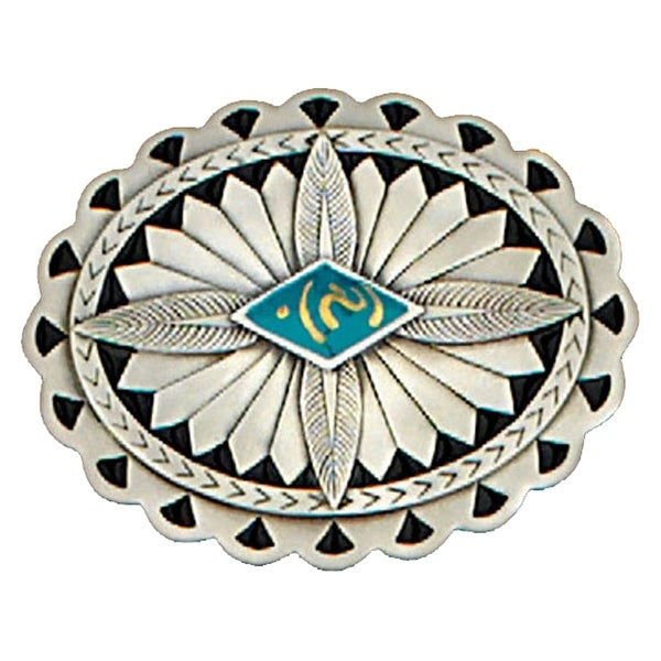 Southwest Design Belt Buckle, Feathers & Turquoise