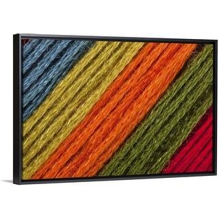 """Close  To Blue, Yellow, Orange, Green  Threads Diagonal"" Black Float Frame Canvas Art"
