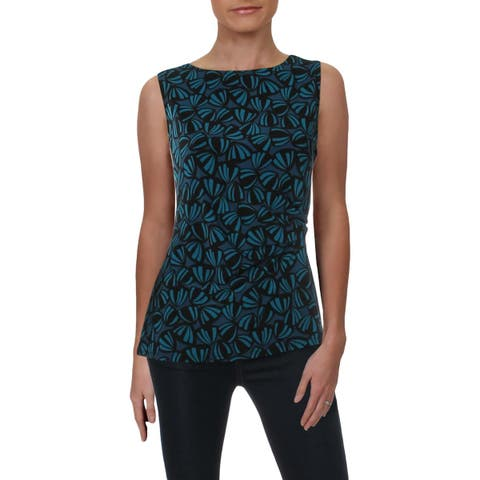Anne Klein Womens Tank Top Printed Pleated
