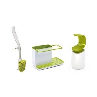 Joseph Joseph Kitchen Sink Set with Caddy, Edge Dish Brush and C-Pump, White/Green - green & white