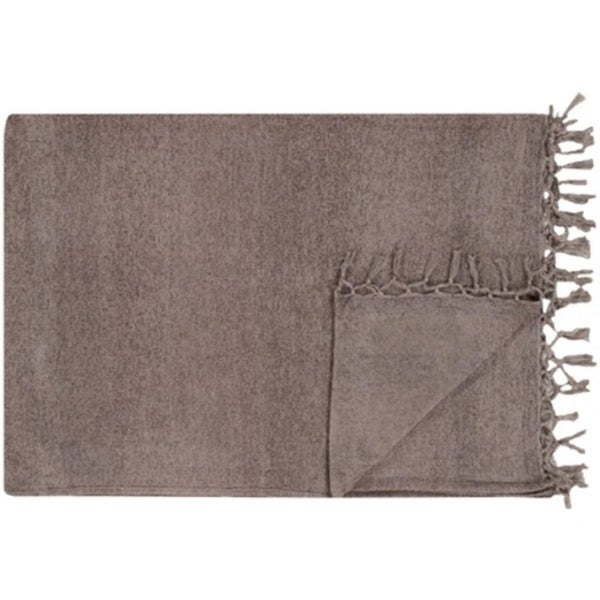 "Smoke Gray Solid Striped Cotton Fringed Throw Blanket 40"" x 60"""