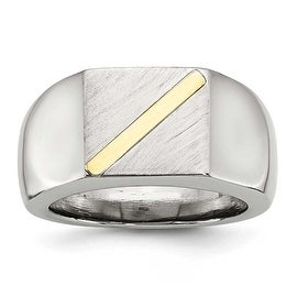 Chisel Stainless Steel with 14K Gold Stripe Signet Ring (11 mm)