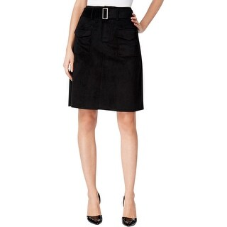 Catherine Malandrino Womens Vernon A-Line Skirt Faux Suede Knee-Length