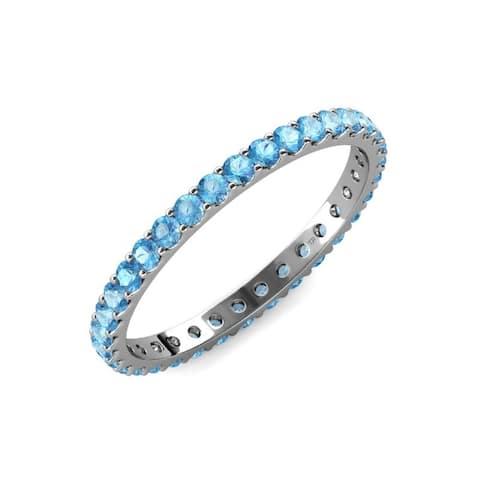 TriJewels Blue Topaz 1 1/2 ctw Womens Eternity Ring Stackable 14K Gold