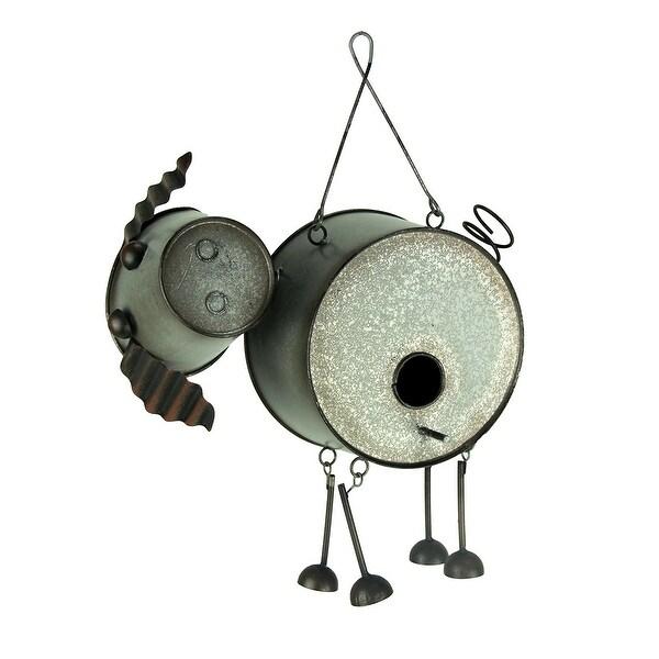 Adorable Farmhouse Style Metal Pig Birdhouse - 10 X 11.25 X 4 inches