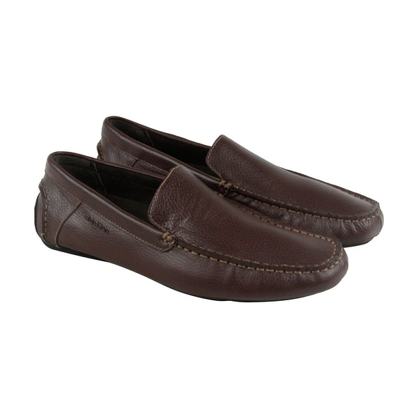 Calvin Klein Miguel Mens Brown Leather Casual Dress Slip On Loafers Shoes