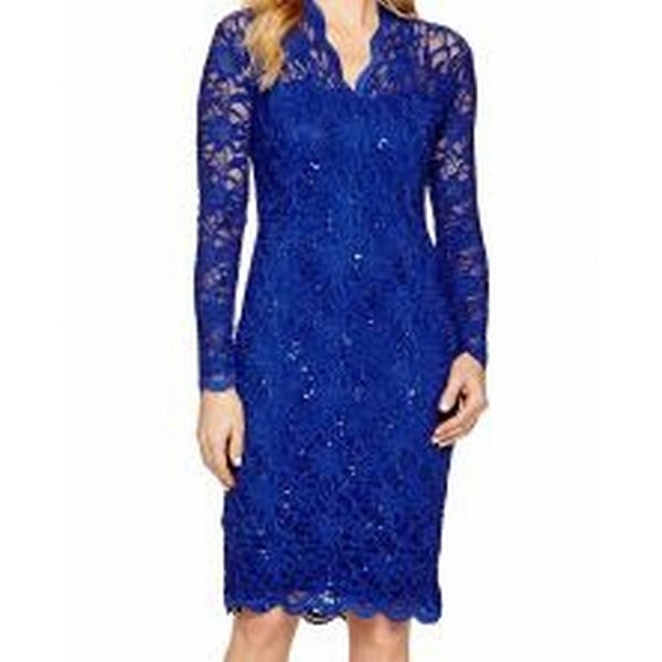 1e5c7f3d Shop Marina NEW Royal Blue Womens Size 12 Sequin Scallop Lace Sheath Dress  - Free Shipping On Orders Over $45 - Overstock - 20703771