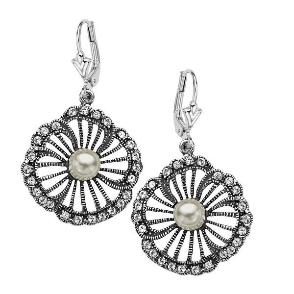 Van Kempen Art Nouveau Simulated Pearl and Swarovski elements Crystals Flower Earrings in Sterling Silver
