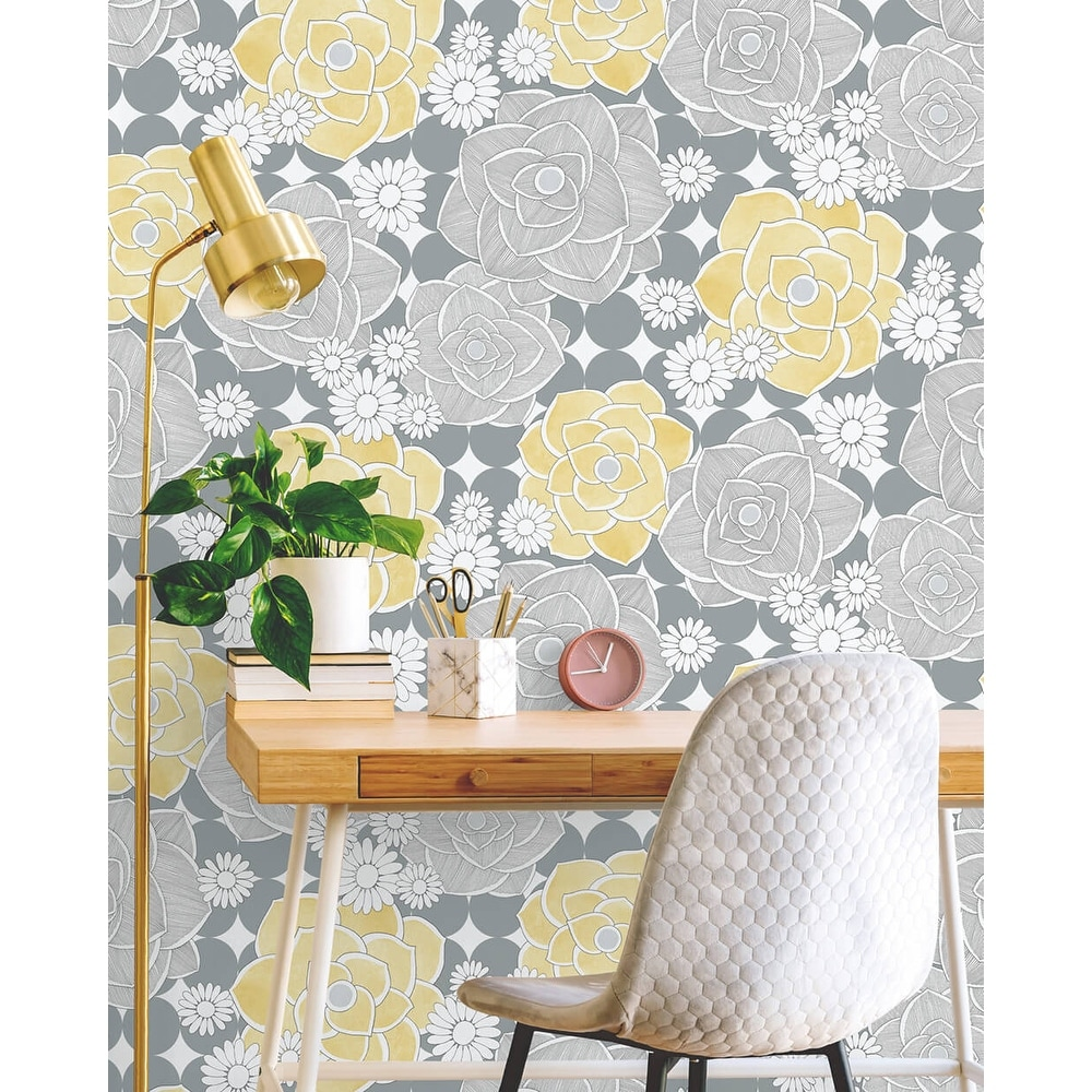 Shop Nextwall Retro Floral Peel And Stick Removable Wallpaper 20 5 In W X 18 Ft L Overstock 31517702