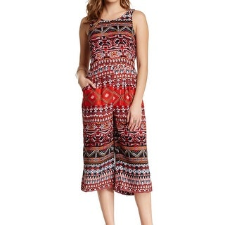 Angie NEW Red Print Large L Junior Cropped Leg Tie Back Jumpsuit