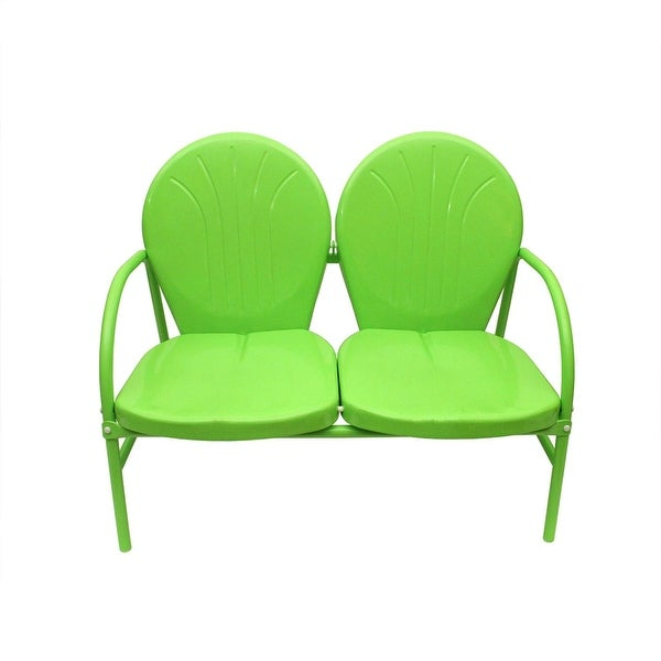 Lime Green Retro Metal Tulip 2-Seat Double Chair