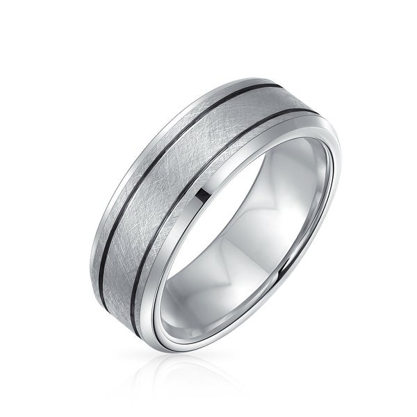 Sliver Tone Double Grooved Brushed Matte Wedding Band Titanium Ring. Opens flyout.