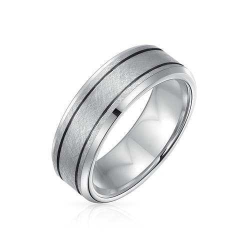 Sliver Tone Double Grooved Brushed Matte Wedding Band Titanium Ring