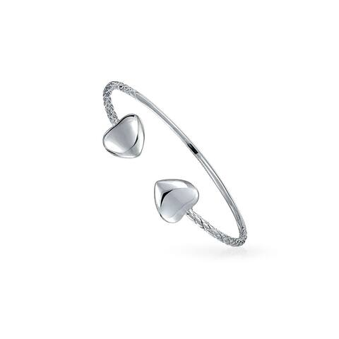 Boho Heart Tips Stackable West Indian Bangles Twisted Cable Bracelet For Teen For Women Small Wrist 925 Sterling Silver