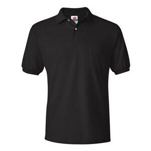 Hanes Ecosmart Jersey Sport Shirt with a Pocket - Black - S