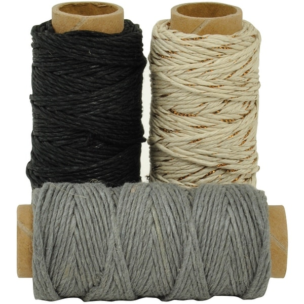 Lucky Dip Mixed Hemp Cord 1.0Mmx21m 3/Pkg-Neutral