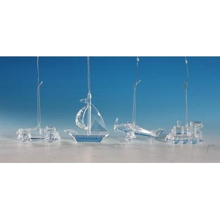 """Club Pack of 16 Icy Crystal Decorative Transportation Ornaments 4.5"""""""