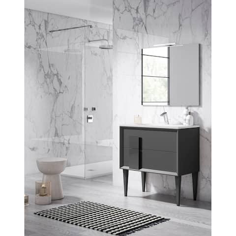 "Lucena Bath 40"" Decor Cristal Freestanding Vanity with Ceramic Sink"