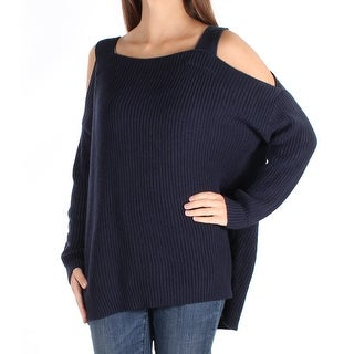 STYLE & COMPANY $54 Womens New 1757 Navy Cut Out Long Sleeve Sweater XS B+B