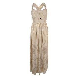 Betsy & Adam Women's Crisscross Metallic Chiffon Gown - Beige/Gold (3 options available)
