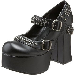Demonia Womens Charade Faux Leather Studded Platform Heels