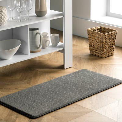 nuLOOM Casual Crosshatched Anti Fatigue Kitchen or Laundry Room Comfort Mat