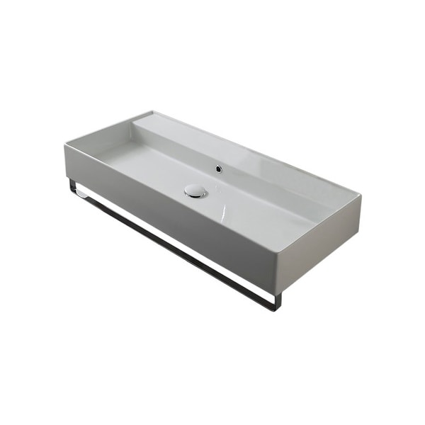"Nameeks 8031/R-120B-TB Scarabeo 47-1/5"" Ceramic Bathroom Sink For Wall Mounted Installation"