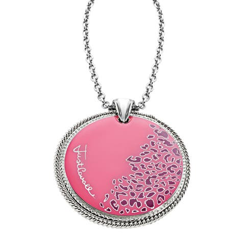 Just Cavalli Pink Leopard Print Pendant in Sterling Silver-Plated Stainless Steel - White
