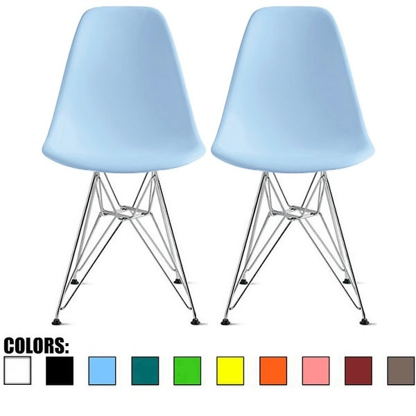 2xhome Modern Side Dining ChairColorsWith Wire Chrome Legs Base (Set of 2)