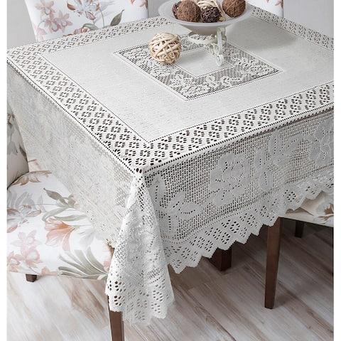 Tablecloth Grega Design Brazilian Lace 59x59 Inches White Color 100 Percent Polyester