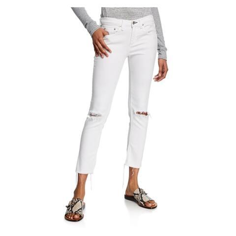 JOE'S Womens White Frayed Cropped Jeans Size 30 Waist