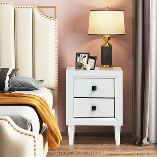 Link to Multipurpose Retro Bedside Nightstand with 2 Drawers-White - White Similar Items in Bedroom Furniture