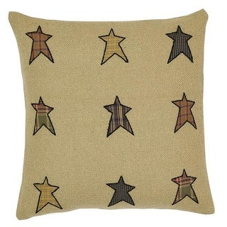 16 x 16 in. Stratton Applique Star Filled Pillow - Tan #44; Re