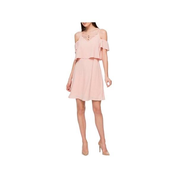Jessica Simpson Womens Cocktail Dress Lace-Up Cold Shoulder
