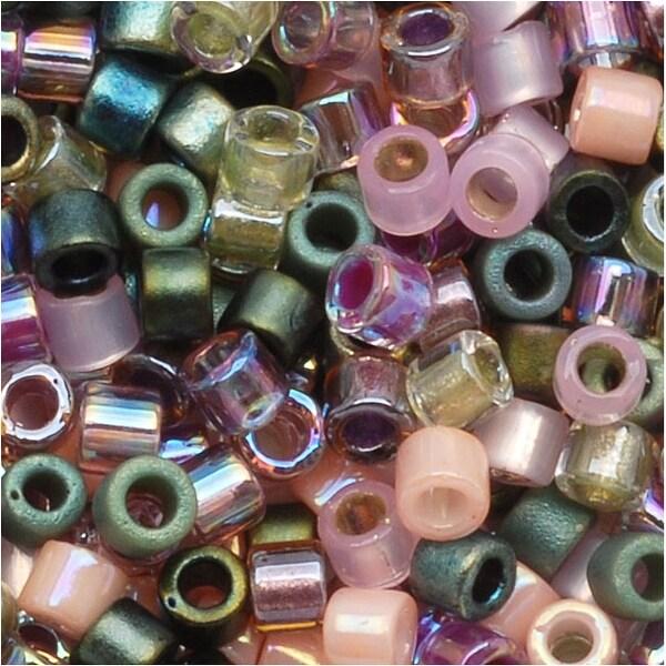 Miyuki Delica Seed Beads Mix 10/0 Lavender Garden Pink Green 8 GR