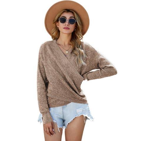 Women's Cross V-Neck Long-Sleeved Sweater