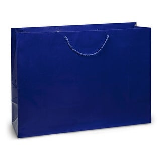 """Pack Of 10, Vogue 16 X 6 X 12"""" Solid Royal Deluxe Gloss Color Laminated Paper Gift Bags"""