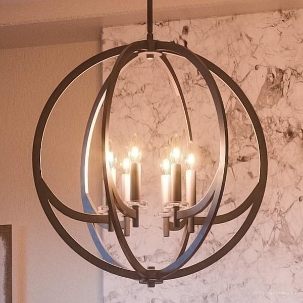 Luxury Globe Chandelier 25 5 H X 24 W With Old World Style Orbital Sphere Design Estate Bronze Finish
