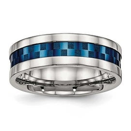 Stainless Steel Polished Blue IP-plated 8 mm Band Ring - Sizes 7 - 13