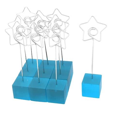 Office Cube Shaped Base Star Design Clamp Photos Paper Memo Clip Blue 10 PCS