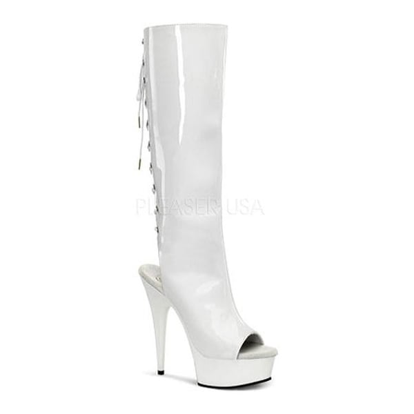 117a5f07c Shop Pleaser Women's Delight 2018 White Patent/White - Free Shipping Today  - Overstock - 7862823