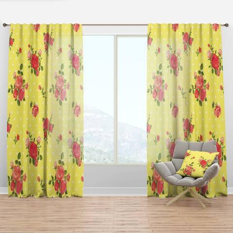 Designart 'Vintage Floral Rose Pattern' Bohemian & Eclectic Curtain Panel