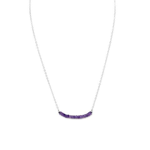 Sterling Silver Square Amethyst beads February Birthstone Necklace