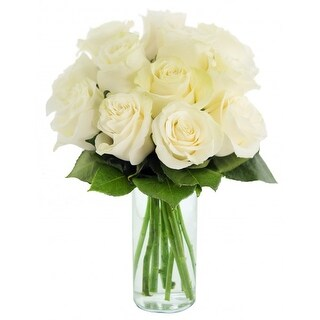 KaBloom: Bouquet of 12 Fresh Cut White Roses (Farm-Fresh, Long-Stem) with Vase