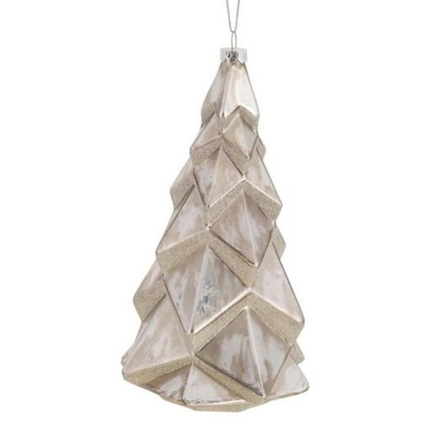 Pack of 6 Decorative Glass Geometric White Tree Ornament
