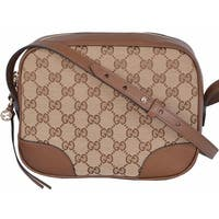 "Gucci 449413 Beige Canvas Leather GG Guccissima Bree Crossbody Purse Bag - beige|brown - 8.5"" x 7"" x 4"""